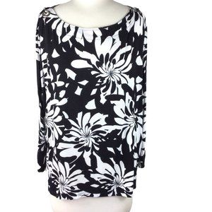 Cable & Gauge Open 3/4 Sleeve Floral Top, XL